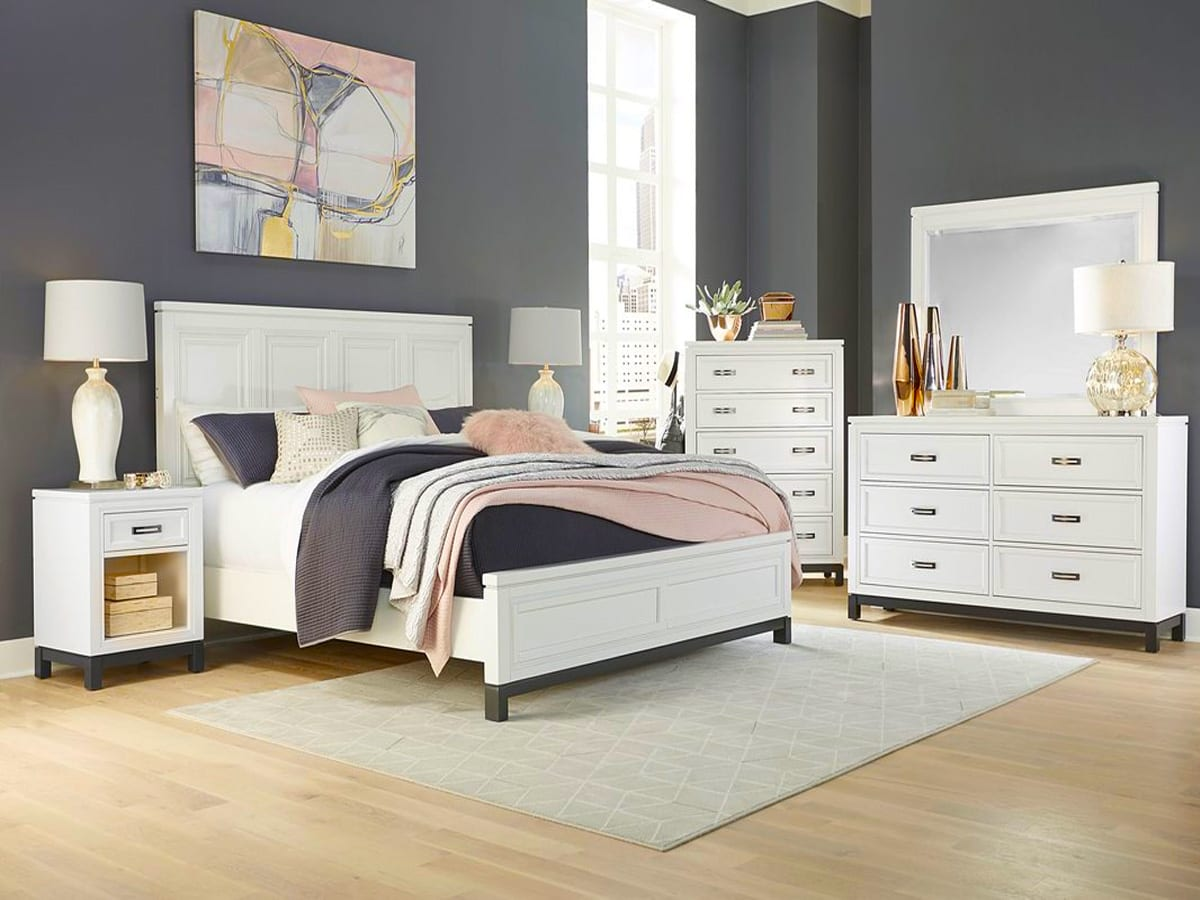 Hyde Park White Panel Bed at MJM Furniture in Coquitlam