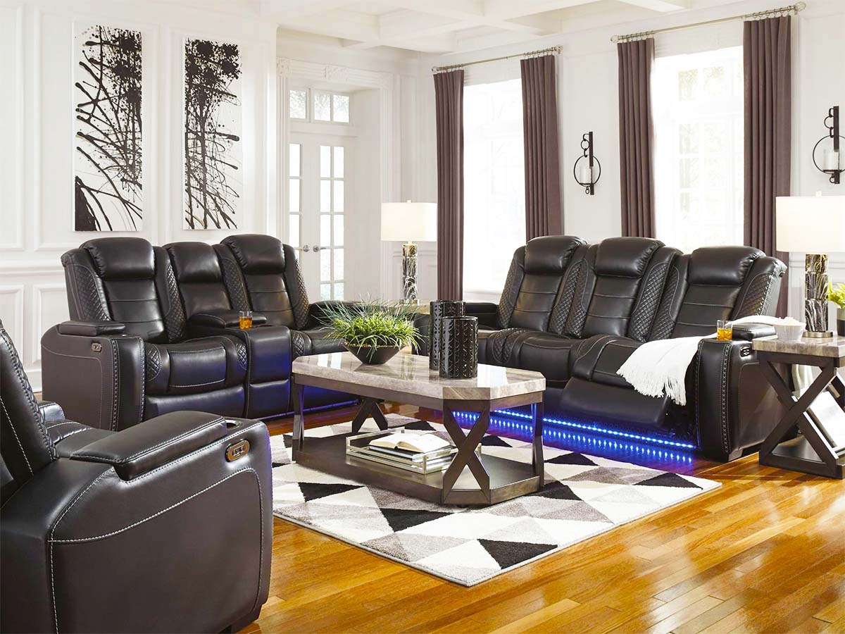 Party Time Midnight Power Reclining Sofa at MJM Furniture on Best in BC