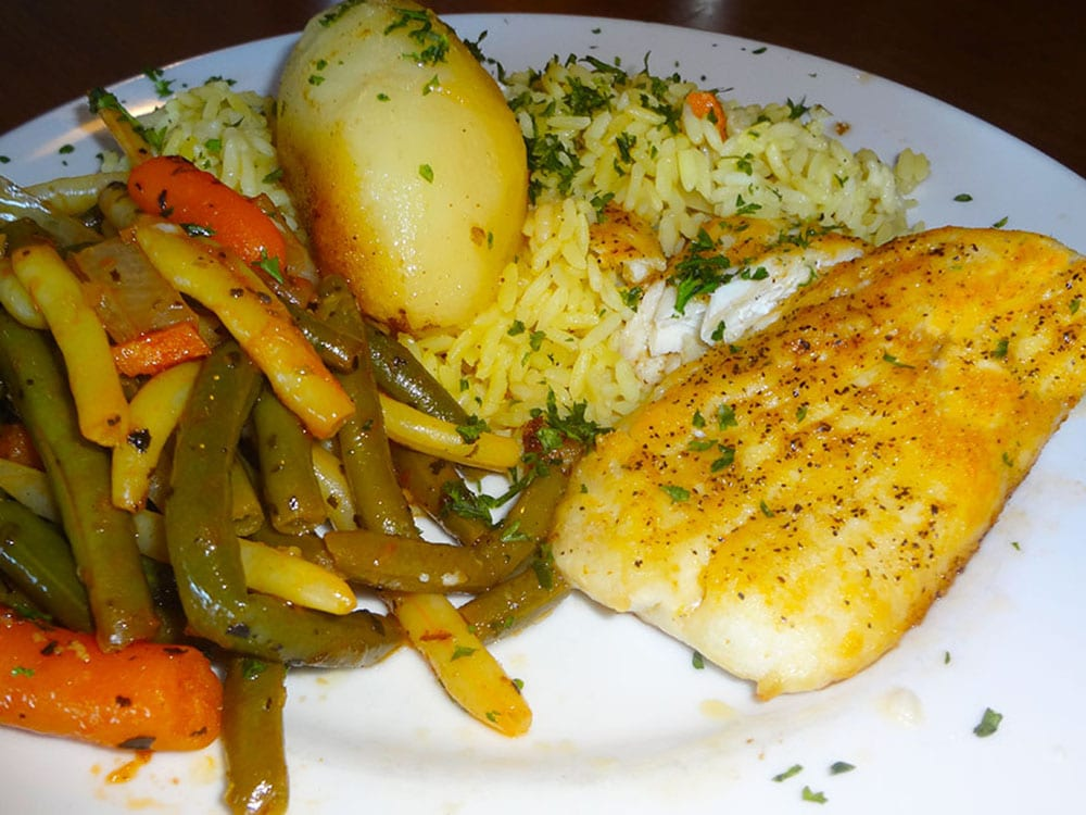 Baked Halibut at Kisamos Greek Restaurant on Best in BC