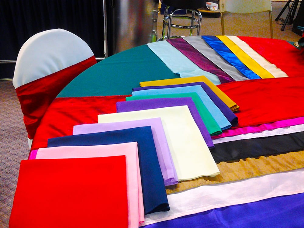 Colourful Linens ~ Table Cloths, Chair Sachs, Table runners, skirting & Napkins at Surdel Party Rentals