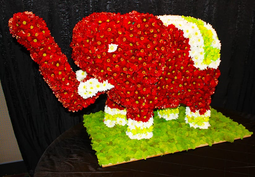 Elephant made of fresh flowers for wedding ceremony with red, white green yellow chrysanthemums and moss