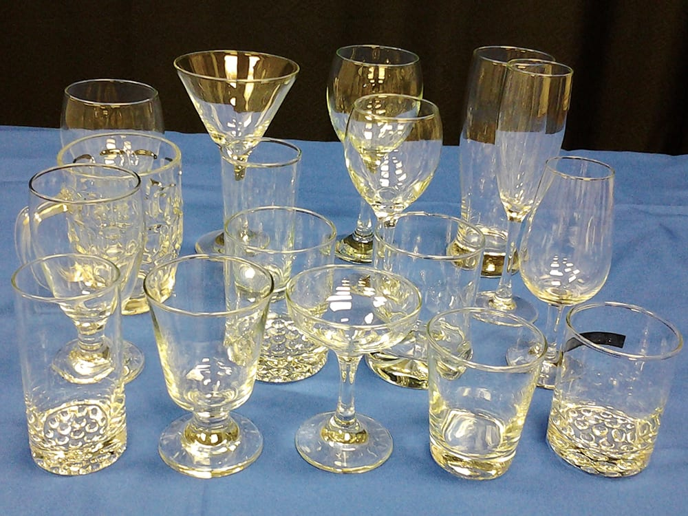 Glassware for every occasion at Surdel Party Rentals