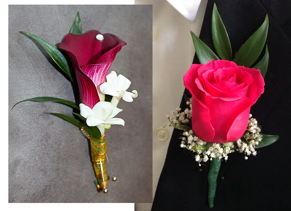 Red Rose with Babys Breath Boutonnière