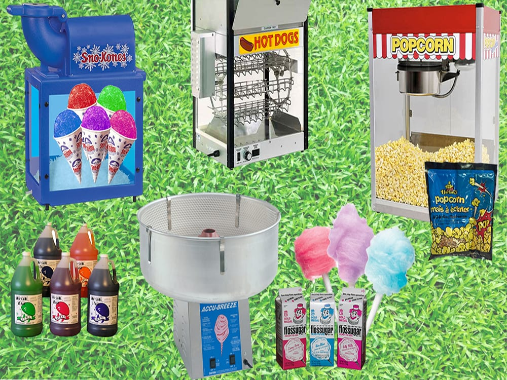 Sno-Kones, Popcorn, and Cotton Candy Machine Rentals at Surdel Party Rentals. Carnival Food Equipment