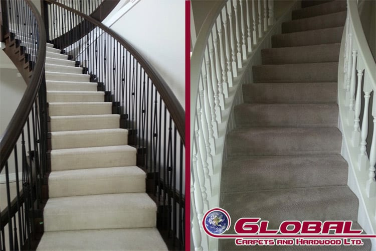 Carpeted Stairs in Burnaby and Coquitlam by Global Carpets and Hardwood Ltd