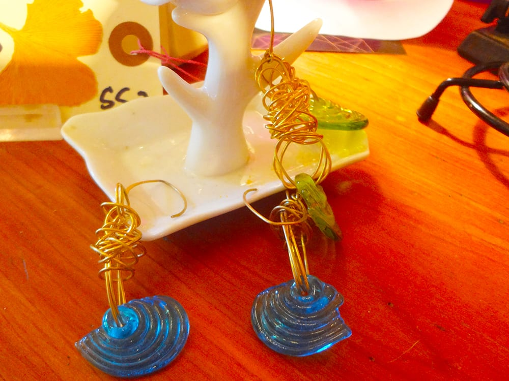 Brass and Glass Earrings at Ixchel Galiano Craft Shop