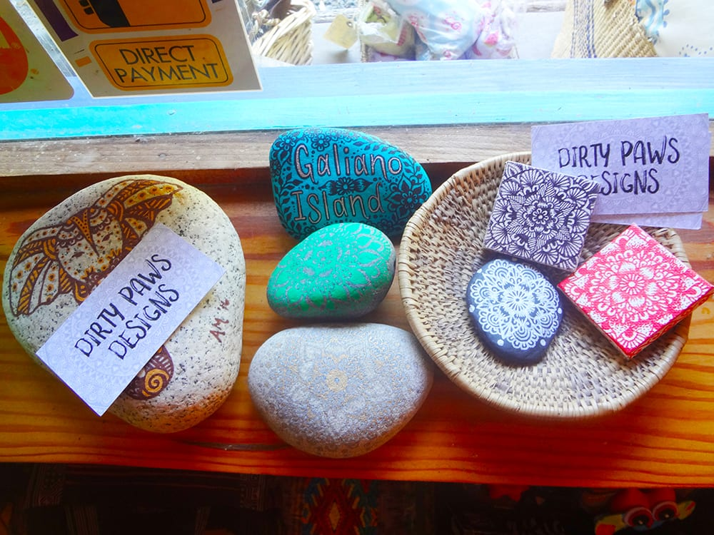 Dirty Paw Designs painted rocks at Ixchel Galiano Craft Shop