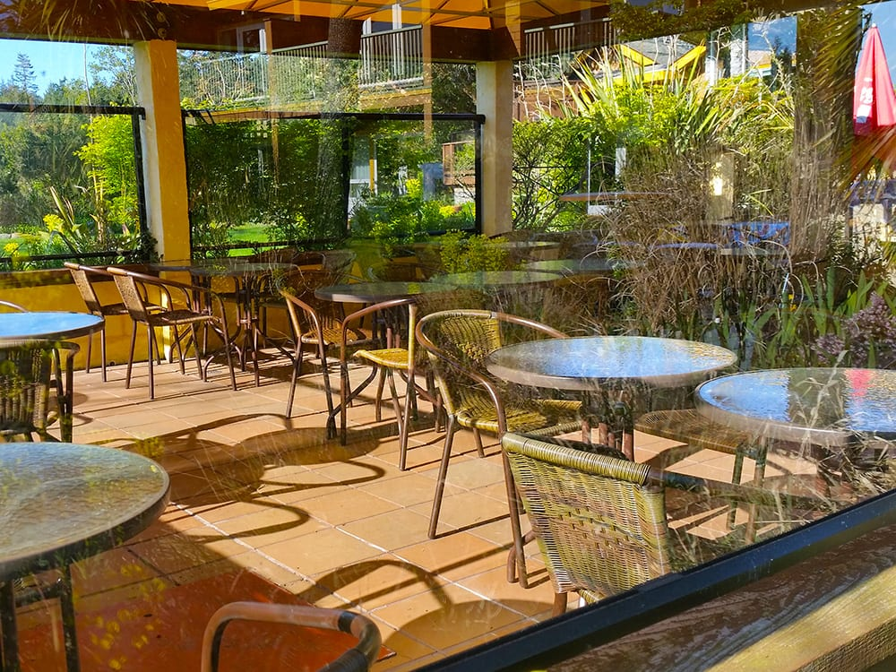Enjoy a meal on the patio at Galiano Oceanfront Inn and Spa