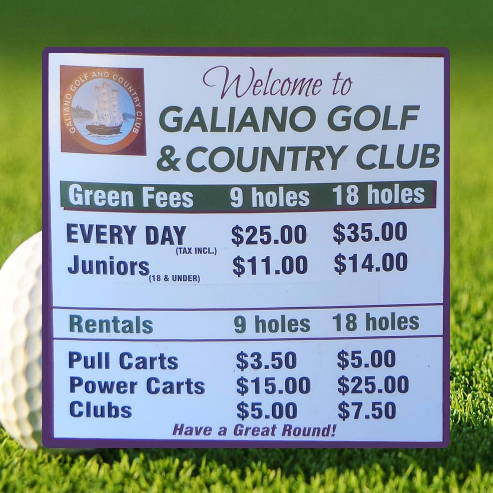 Galiano Golf and Country Club 2019 Fees