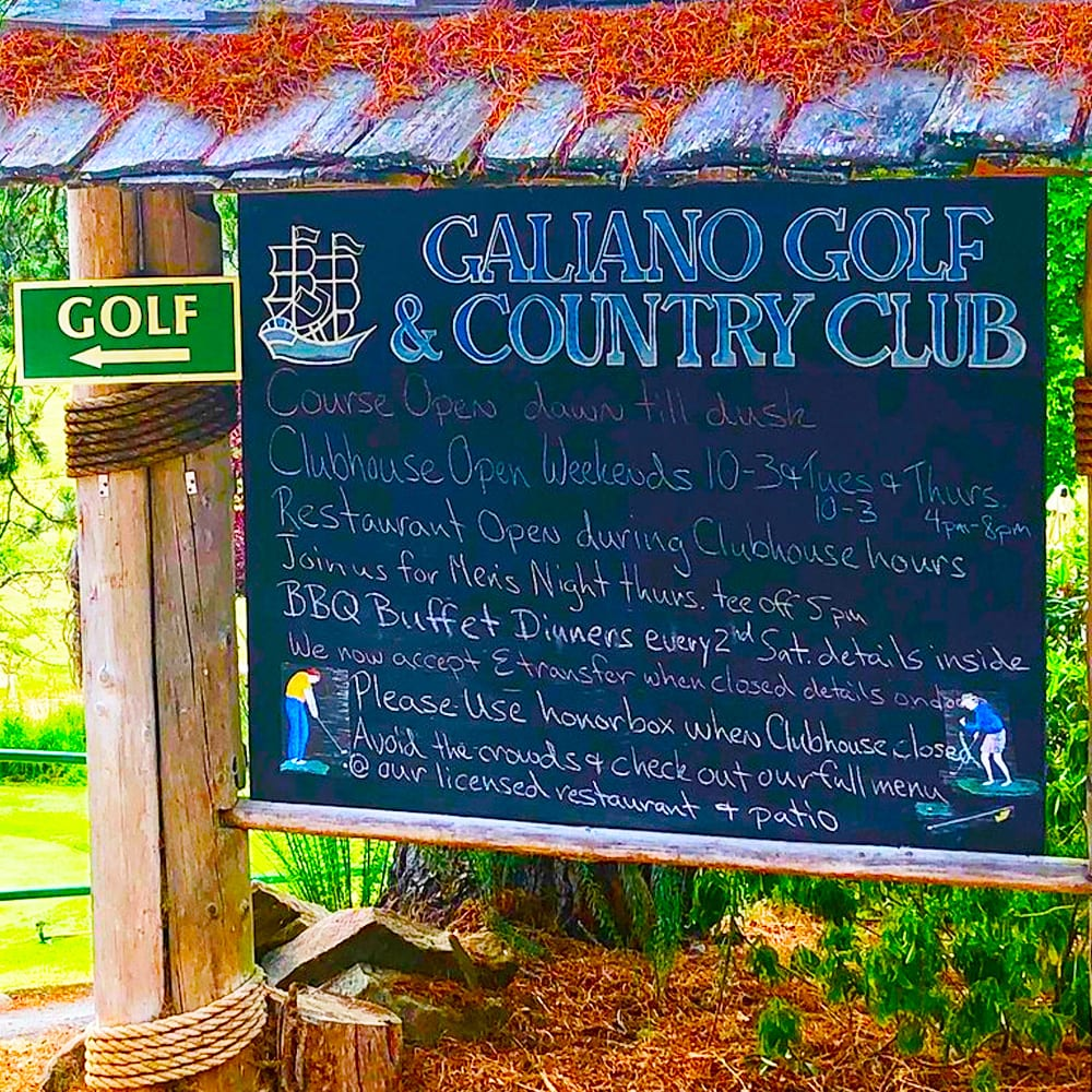 Galiano Golf Course Welcome and Information Board