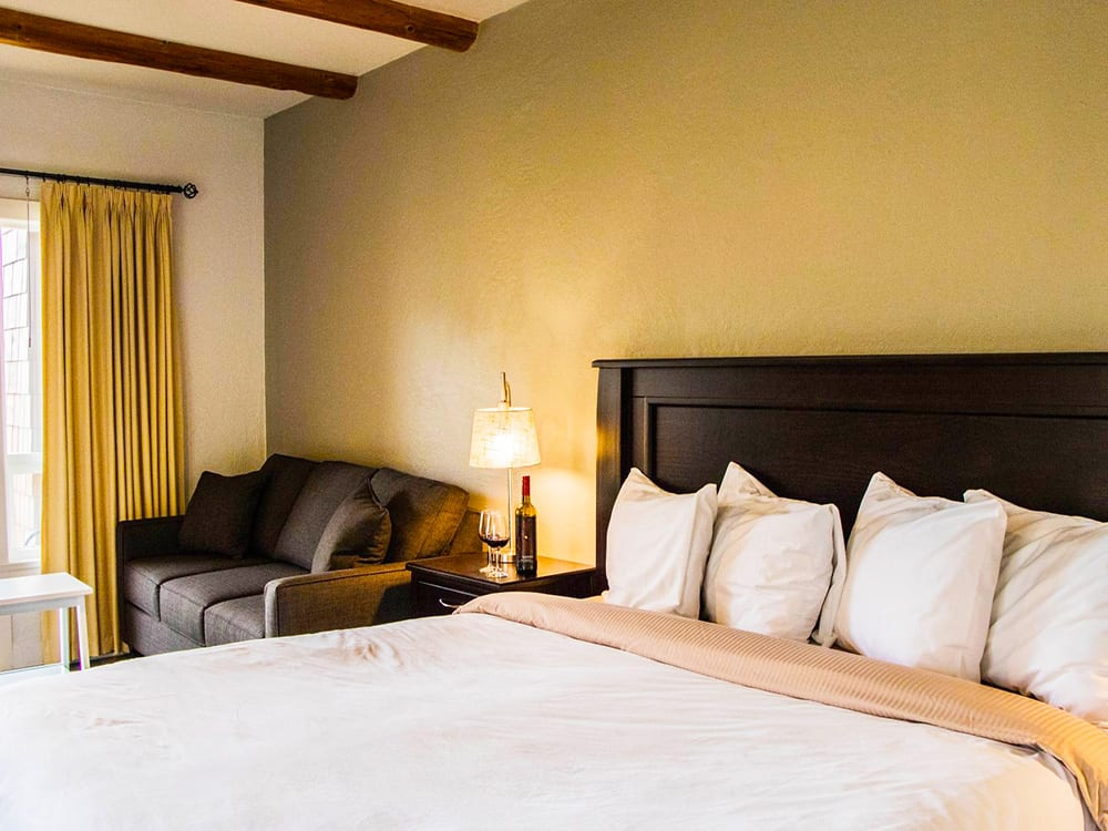 King size bedroom at Galiano Oceanfront Inn and Spa
