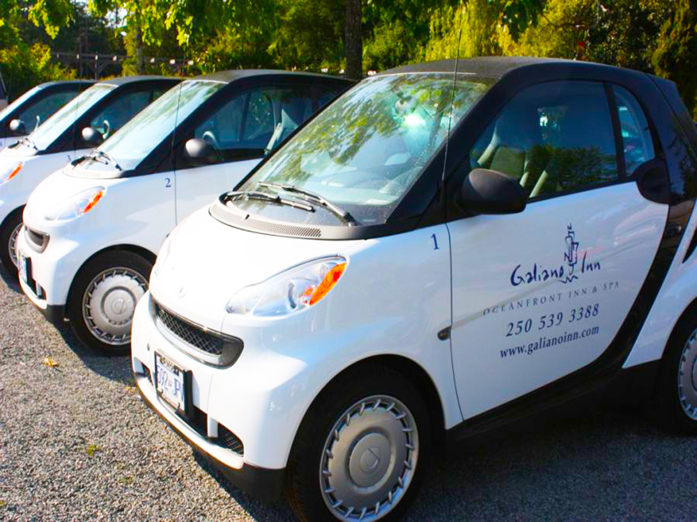Leave your car at home, Galiano Oceanfront Inn and Spa hassmart cars and 8 to 15 passenger vans