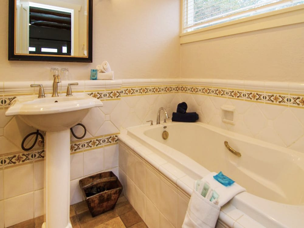 Luxurious bathrooms with soaker tubs at Galiano Oceanfront Inn and Spa