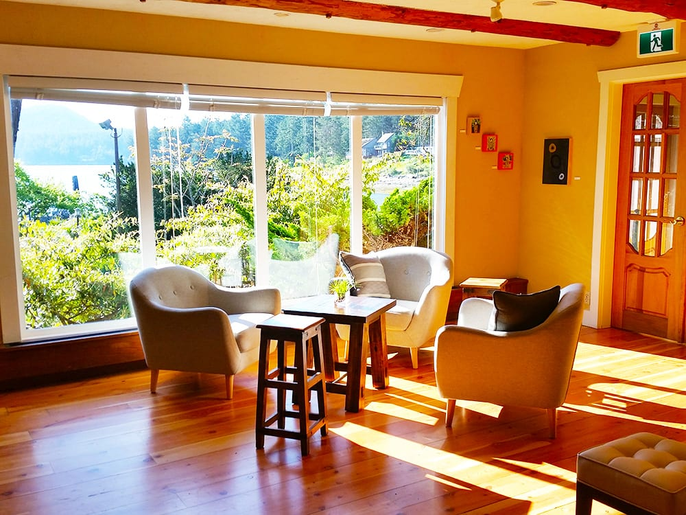 Relax in the morning sun in one of the many guest areas at the Galiano Oceanfront Inn and Spa