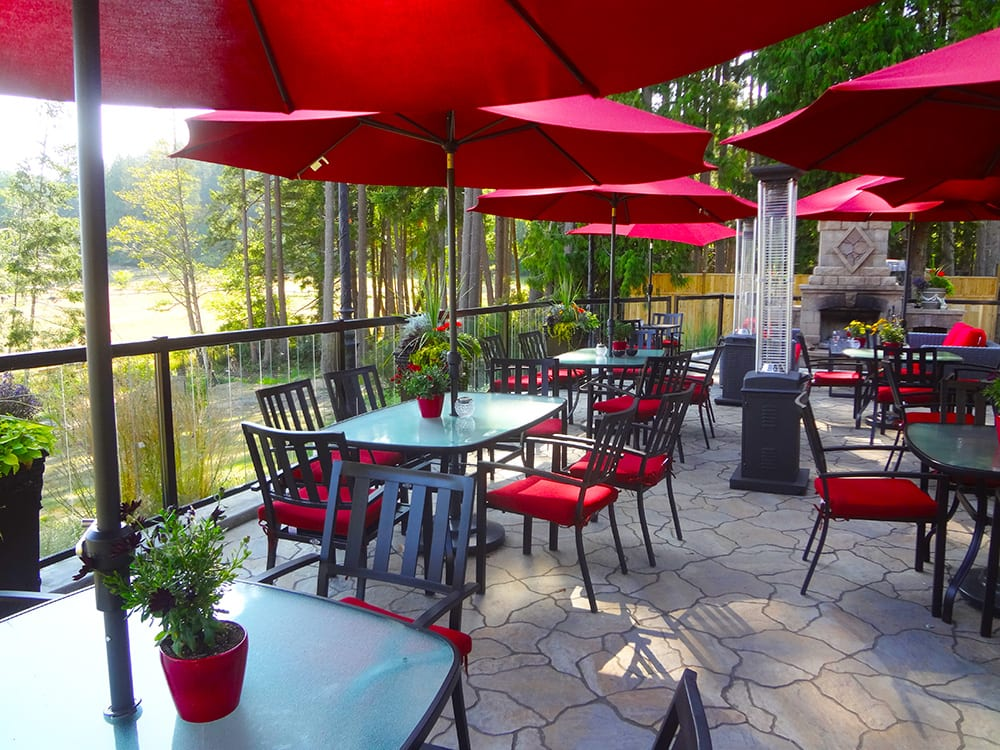 Woodstone Manor Patio is a wonderful place to relax all year long on Galiano Island