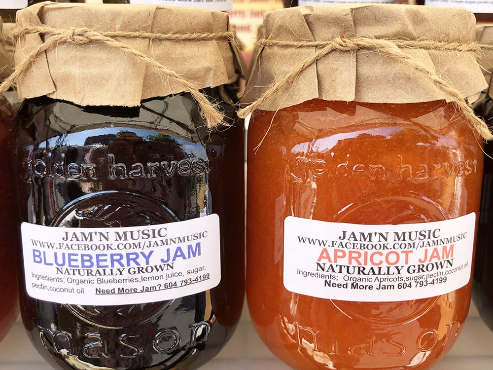 Organic Blueberry Jam and Organic Apricot Jam made with love by Trisha Gagnon at Jam'n Music