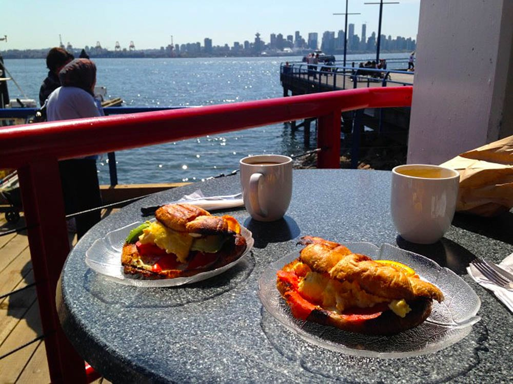 Enjoying an All-Day Cafe breakfast in the sunshine at Lonsdale Quay