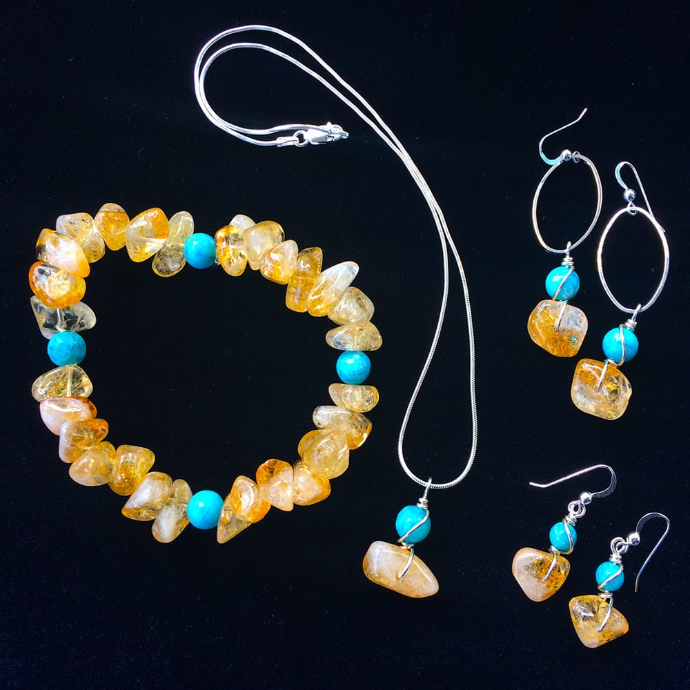 Custom Amber and Blue Daisy Jasper Collection by Kimi Designs Jewellery