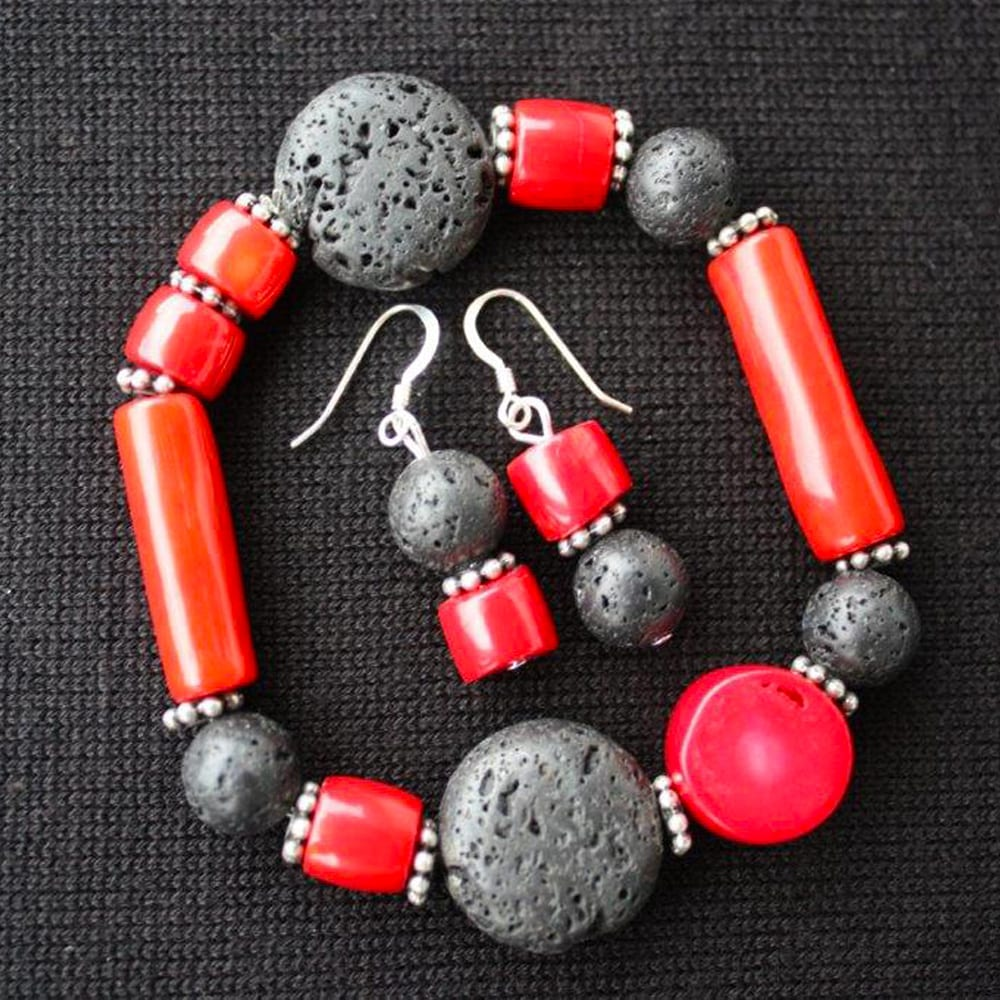 Custom Black Lava and Carnelian Collection by Kimi Designs Jewellery