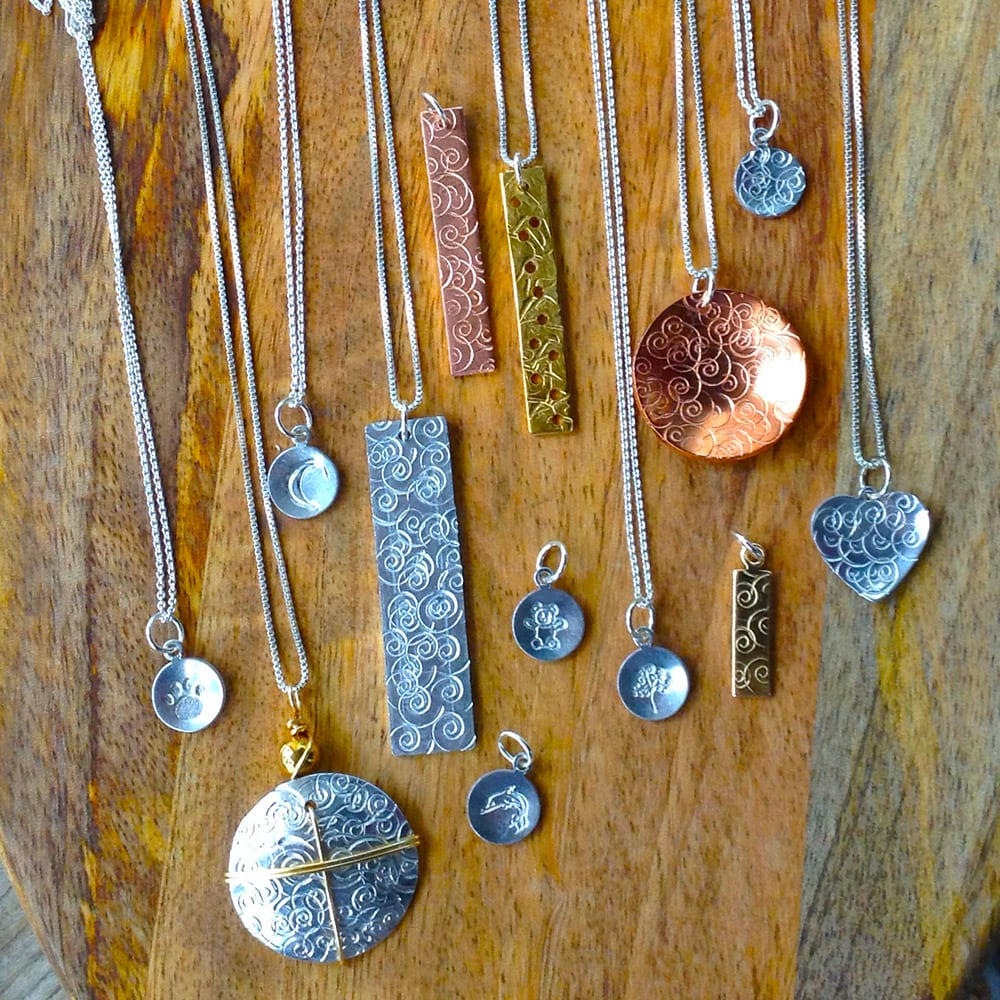 Brass, Copper, Aluminum, and Sterling Silver Necklaces by Kimi Designs Jewellery