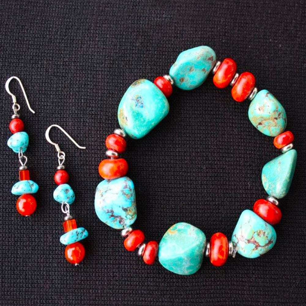 Custom Carnelian and Turquoise Collection by Kimi Designs Jewellery