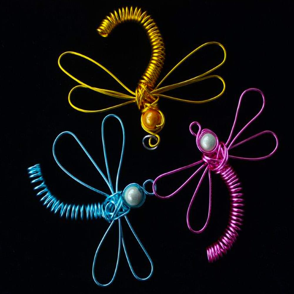 Colourful Dragonfly Wire Pendant Collection by Kimi Designs