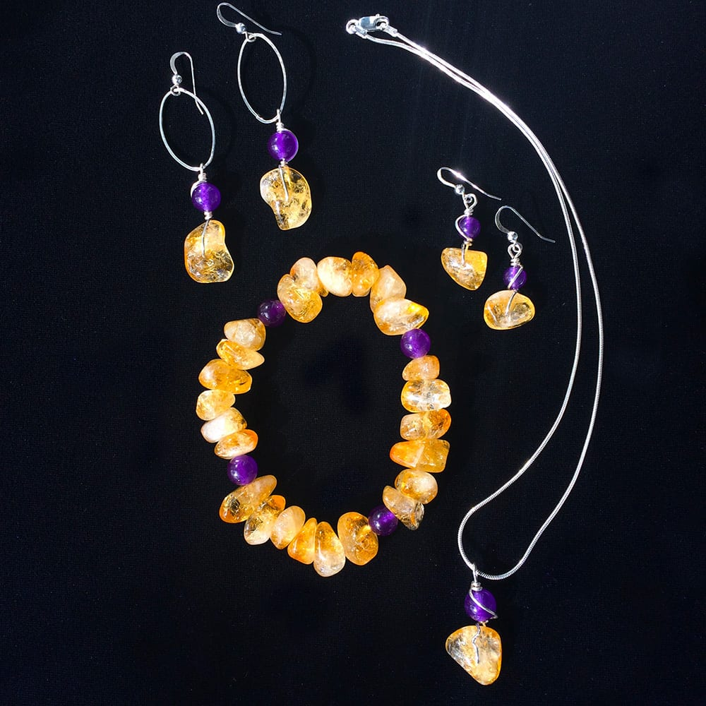 Custom Amber and Purple Jade Jewellery Collection by Kimi Designs