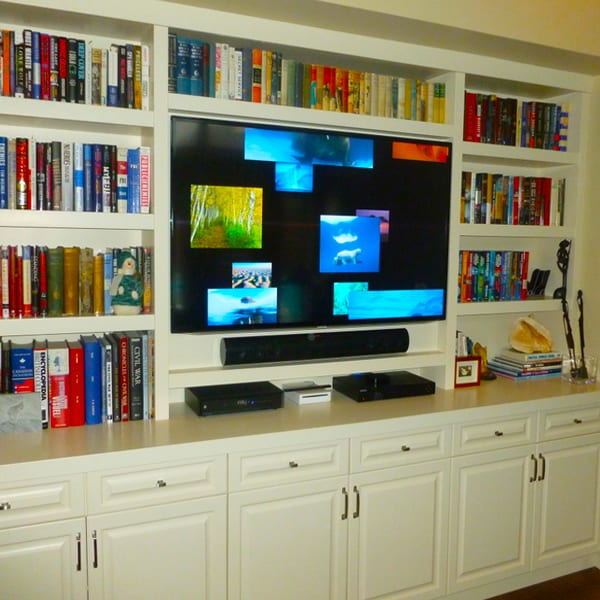 Custom Den floor to ceiling bookcase and entertainment centre