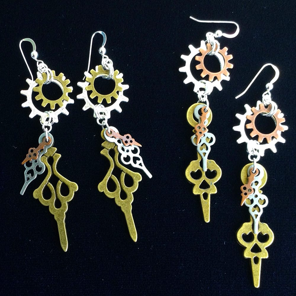Clockwork Earrings from Kimi Designs Industrial Chic Line