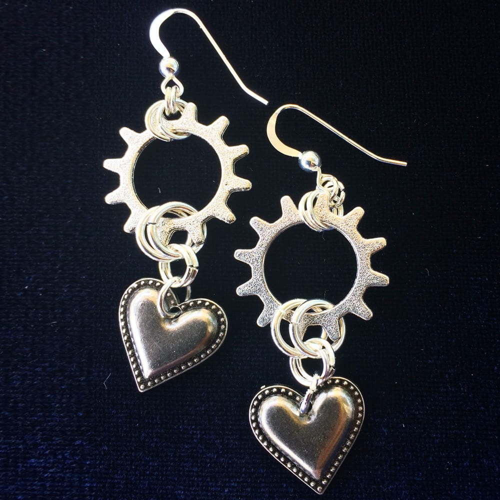 Heart shaped Industrial Chic Earrings by Kimi Designs Jewellery